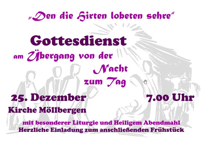 Plakat Weihnachtsgottesdienst am 1. Feiertag